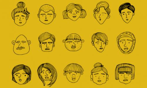 varias Pessoas cartoons fundo amarelo